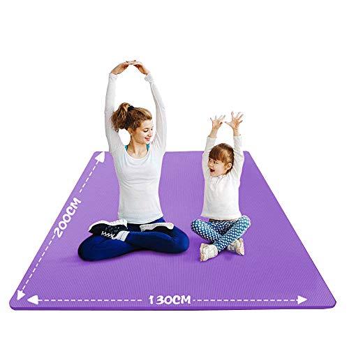 YUREN Groß Yogamatte Extra Weit 2X1,3 M Gymnastikmatte Übungsmatten für Partner Yoga 10mm Weiche Dicke NBR-Schaum Stretch Fitness Heimtrainingsmatte Mit Gurt - Lila