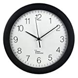 Hama - Orologio da parete radiocontrollato (30 cm, grande orologio da cucina, silenzioso, con grande quadrante, orologio analogico per soggiorno con batteria inclusa), nero