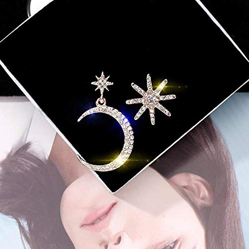 Arete Pendientes Colgantes De Metal Clásico para Mujer, Pendientes Asimétricos, Estrella De Luna, Pendientes De Personalidad Coreana para Mujer, Joyería De Oro Rosa