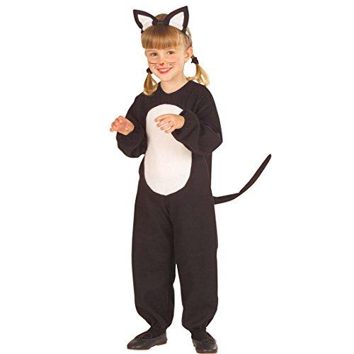 NET TOYS Katzen Kostüm Katzenkostüm Kinder 110 cm 3-4 Jahre Katze Kinderkostüm Kätzchen Overall mit Ohren Tierkostüm Cat Tier Jumpsuit Kleinkinder Karneval Kostüme Mädchen