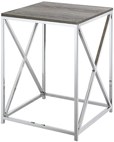 Convenience Concepts Belaire End Table Chrome Weathered Gray