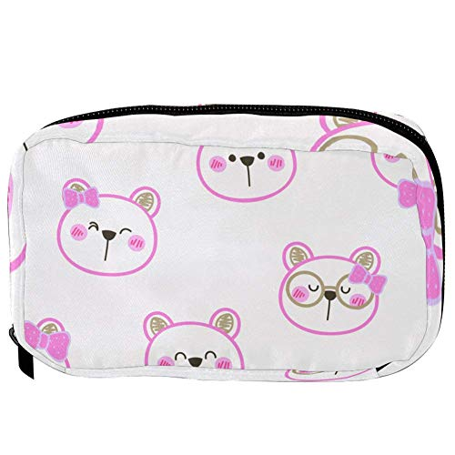 TIZORAX Cosmetic Bags Shy Bubbies In Pink Bow Handy Toiletry Travel Bag Oragniser Makeup Pouch for Women Girls