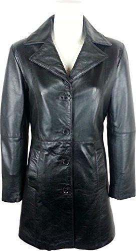 UNICORN Mujeres Encuadre de tres cuartos Real cuero chaqueta - Negro #GN
