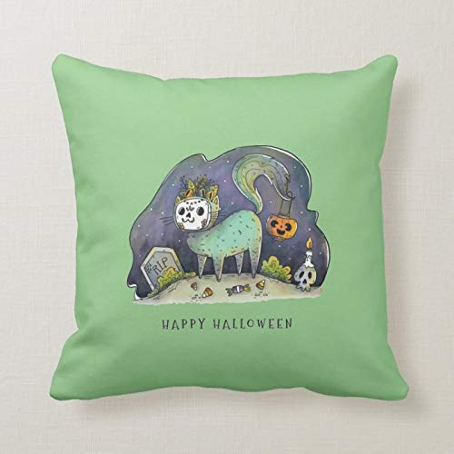 Uptwer2ahum Halloween Pillow Covers 40x40 cm Happy Halloween Undead Kitty Lumbar Pillow Covers Autumn Cushion Cover Thanksgiving Day Pillow Case for Sofa Couch Decoration