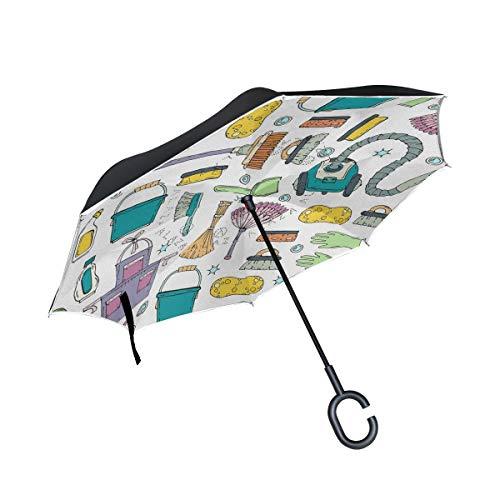 XiangHeFu Paraguas invertido de Doble Capa Invertido Colorido Patrón Vacío Plegado A Prueba de Viento Protección UV Gran Recto para automóvil con manija en Forma de C