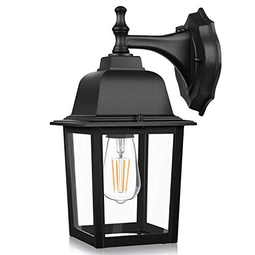 Dusk to Dawn Sensor Outdoor Wall Lanterns, Exterior Wall Lights Fixture with E26 Base LED Bulb, Wall Mount Sconce Anti-Rust Waterproof Matte Black Wall Lamp with Clear Glass Shade for Garage Doorway