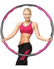 Viktade rockringar för vuxna/barn fitness rockring 7 sektioner avtagbar justerbar bantning cirkel svamp rockring professionell vågig design vikbar fitness massage ring övningsring (grå rosa)