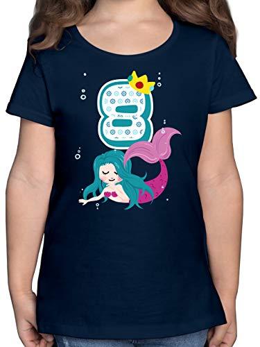 Kindergeburtstag Geschenk - Meerjungfrau 8. Geburtstag - 128 (7/8 Jahre) - Dunkelblau - meerjungfrau Shirt 122 - F131K - Mädchen Kinder T-Shirt