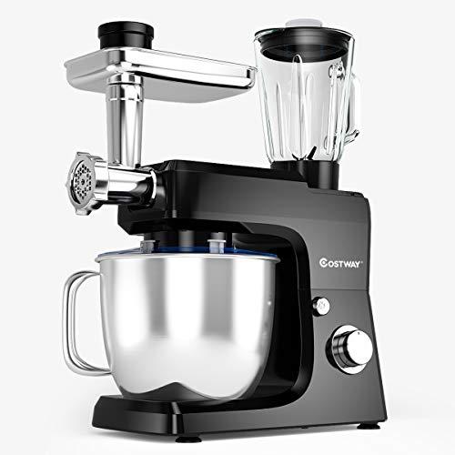 Best Bargain COSTWAY 3-in-1 Stand Mixer, 800W 6-Speed Tilt-Head Food Mixer, 7 QT Upgraded Kitchen El...