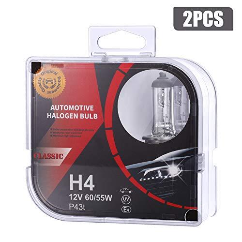 H4 Halogen Scheinwerferlampen Fernlicht Abblendlicht und Nebelscheinwerfer 4000 K 55W Lange Lebensdauer,2 Stück