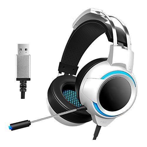 YPJKHM Casque de Jeu Casque 7.1 Casque de positionnement auditif-White