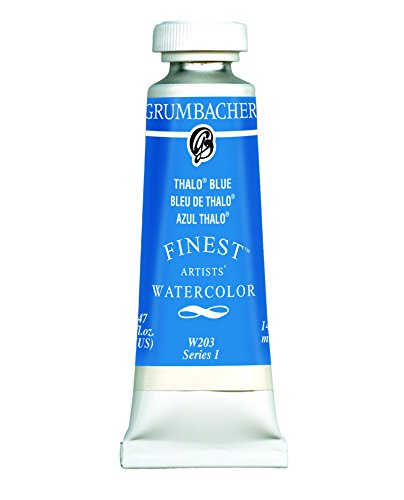 Grumbacher Finest Watercolor Paint, 14 ml/0.47 oz, Thalo Blue
