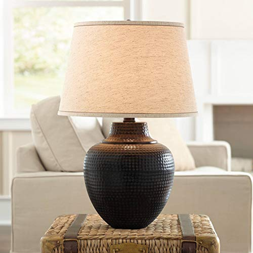 Brighton Rustic Table Lamp Hammered Bronze Metal Pot Beige Linen Drum Shade for Living Room Family Bedroom Nightstand - Barnes and Ivy