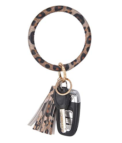 Coolcos Key Ring Bracelets Wristlet Keychain Bangle Keyring - Large Circle Leather Tassel Bracelet Holder For Women Gift (A Leopard)