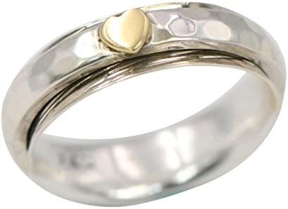 Energy Stone 925 Sterling Silver Simple Heart Meditation Spinner Ring Style US68 9 5 product image
