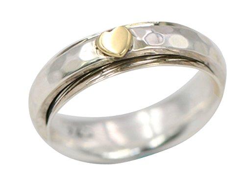 Energy Stone Cuore gentile - Anello girevole di meditazione in argento sterling (modello UK68)