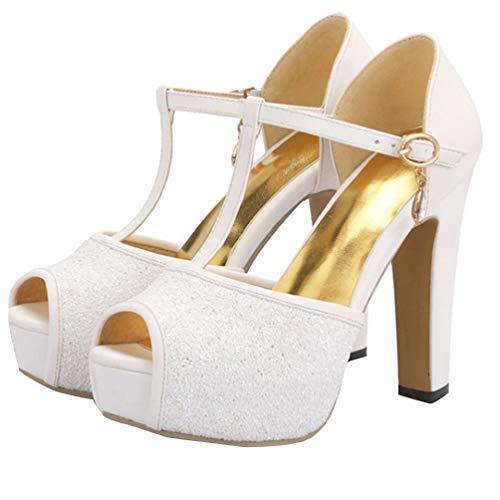 LUXMAX Damen Peeptoe Sandalen High Heels Plateau Blockabsatz T Spangen Sandaletten mit Glitzer Hochzeit Braut Schuhe(Weiß 37)