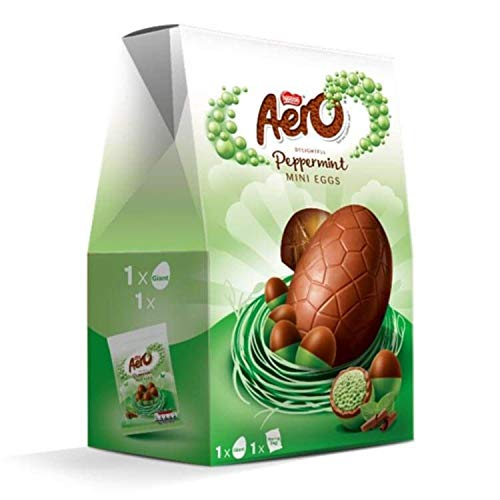 Aero Peppermint Chocolate Easter Egg 270g, Chocolate Bubbles That are Designed to melt effortlessly in Your Mouth, Pack of 9
