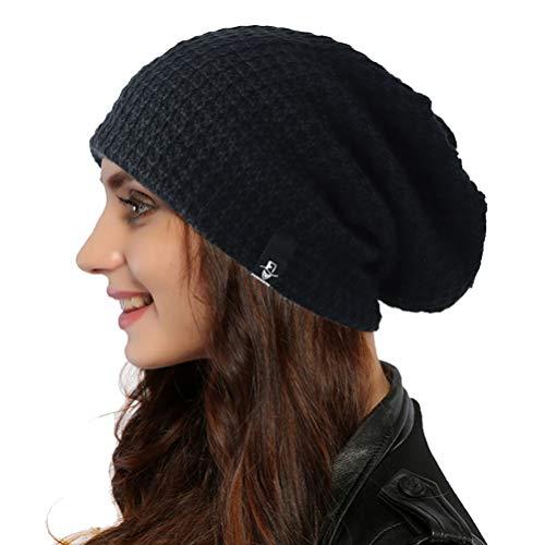 Ruphedy Damen Beanie Mütze Bunt Long Slouch Beany Strickmütze Wintermütze B08 (Schwar)