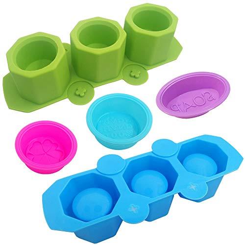3 moldes de silicona para jabón y 2 piezas de 3 cavidades para plantas de flores, moldes de silicona SENHAI para hacer velas, muffins de cerámica, arcilla polimérica