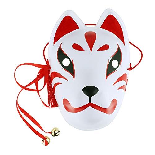 iEFiEL Unisex Fuchs Maske Für Erwachsene Pu Leder Japanische Fox Masken Gesichtsmaske Maskerade Halloween Party Cosplay Accessoires Zubehör Weiß&Rot B One Size