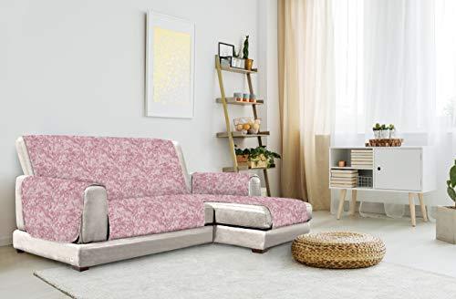 "Italian Bed Linen ""Glamour"" Anti-Deslizamiento Funda para sofà with Chaise-Longue Right, Burdeos, 290cm"