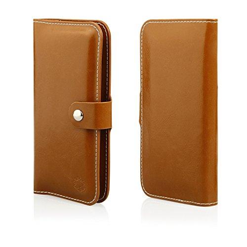 MOELECTRONIX HQ Buch Tasche BRAUN Klapp Schutz Hülle Wallet Flip Hülle Etui passend für Coolpad Porto S E570