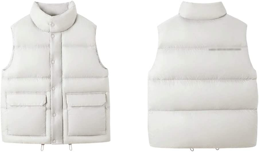 Men's Outerwear Vests Windproof Warm Vest, Men's Puffer Vest Winter Lightweight Outdoor Nylon Stand-up Collar Sleeveless White Duck Down Jacket Men's Winter Vest ( Color : Off-white , Size : X-small )