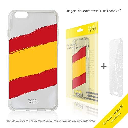 Funnytech® Funda Silicona para Motorola Moto Z2 Force [Gel Silicona Flexible, Diseño Exclusivo] Bandera España Transparente