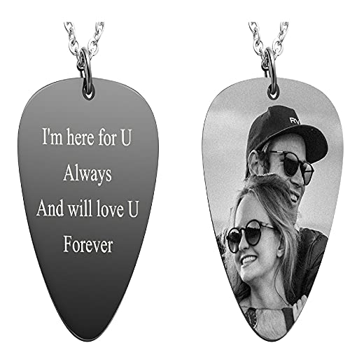 Memolome Personalized Guitar Pick Necklace Custom Photo Necklace Free Engraving Text Stainless Steel Black Pendant Necklace For Men Women Boyfriend Girlfriend Valentine's Day Birthday Jewelry Gift