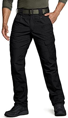 CQR CLSL Men's Tactical Pants, Water Repellent Ripstop Cargo Pants, Lightweight EDC Hiking Work Pants, Outdoor Apparel, Unique(tlp108) - Black, 38W x 32L