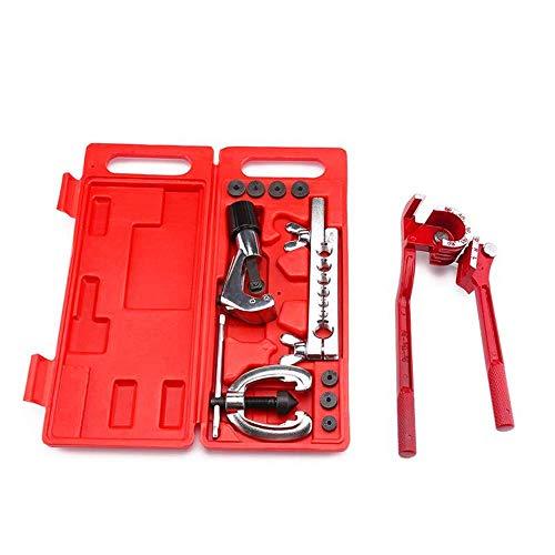FACAIA Autoreparatur-Schlauchbieger-Set, doppeltes Bördelwerkzeug-Kit für die automatische Bremsleitung mit Halterschiene Schneidmesser-Adapter Werkzeuge