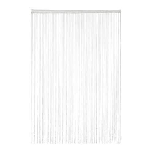Relaxdays weiß, Fadenvorhang, kürzbar, mit Tunneldurchzug, für Türen & Fenster, waschbar, Fadengardine, 145x245 cm, White, 1er Pack 145x245cm