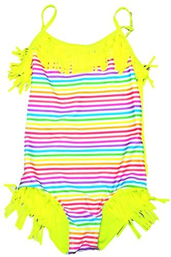 VanessaShop Mooie kleurrijke gestreepte meisjesbadpak met vele franjes in de maten 98-158