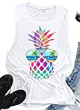 Vintage Colorful Pineapple Sunglasses Beach Tank Tops for Women Funny Graphic Vest Casual Summer Sleeveless Tee Shirts (Medium, White)
