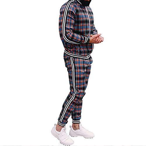 Heren Sports Casual Grid Fitness Pak, Casual Elastisch Taille Trainingspak, Set Lange Mouw Zip Jogging Bottoms Sports Suits XL(180~185cm)
