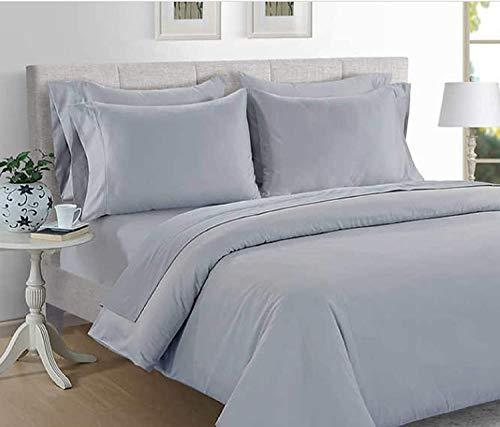 Hotel Signature King - Juego de sábanas de satén gris de 800 hilos de aleación de 6 piezas