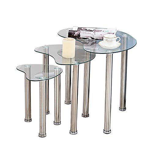 nozama Glass Nest of Tables Clear Nesting Tables Set of 3 Small End Coffee Tables Sofa Side Tables for Living Room (Clear, Irregular Shape)