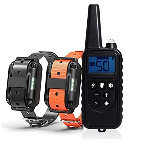IQVENTURE Dog Training Collar, Long Range 2600ft Rechargeable Shock Collar, Waterproof Dog Shock Collar with Remote 4 Training Modes, Beep, Vibration, Light, Shock,0~99 Shock (Black, for 2 Dogs)
