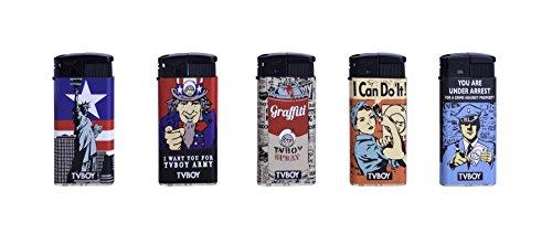 TVBOY, 5 USA-Design piëzo-aanstekers, navulbaar, met kinderbeveiliging