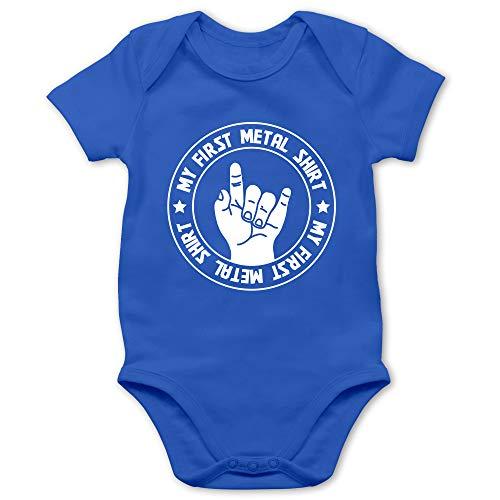 Strampler Motive - My First Metal Shirt - 1/3 Monate - Royalblau - First Metal Shirt - BZ10 - Baby Body Kurzarm für Jungen und Mädchen
