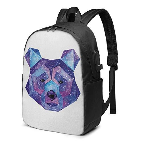 Laptop Backpack with USB Port Polygonal Wildlife Artwork Galaxy, Business Travel Bag, College School Computer Rucksack Bag for Men Women 17 Inch Laptop Notebook