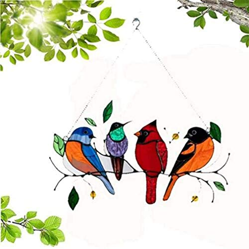 Multicolor Birds on a Wire High Stained Glass Acrylic Window Panel Bird Series Ornaments Pendant Home Decoration, Gifts for Bird Lover