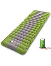 Overmont Camping isomat luchtmatras opblaasbaar 12 cm dik, zelfopblaasbare isomat met ingebouwde luchtpomp en draagtas voor camping wandelingen backpacking reizen tent strand donkerblauw/groen