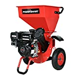 PowerSmart Wood Chipper/Shredder, 3in1 212cc Gas Powered Chipper/Shredder, 7HP Ultra Duty Mulcher with 3-inch Max Wood Capacity, Discharge Bag Included, Red/Black, PS1130