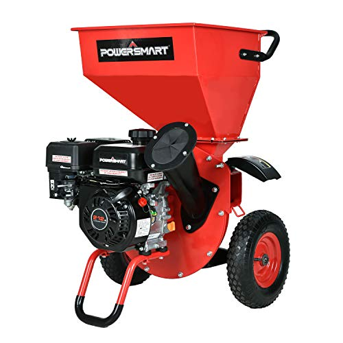 PowerSmart Wood Chipper Shredder, 3in1 212cc Gas Powered Chipper Shredder, 7HP Ultra Duty Mulcher with 3-inch Max Wood Capacity, Discharge Bag Included, Red Black, PS1130
