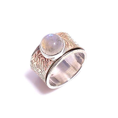 Moonstone Gemstone Ring, Spinner Ring Women, Anxiety Spinner Ring, Handmade Ring, Mix Metals Ring, 925 Sterling Silver Ring, Spinner Ring, Fidget Spinner Ring, Mother's Day Ring, Anniversary Ring