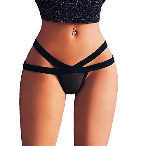 MEIbax Elegante Mujer Sexy Mini Tanga Estrella Vendajes Malla Tanga Ropa Interior de Encaje Punk