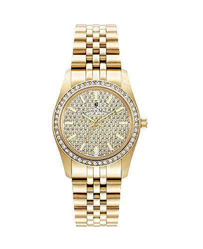Reloj de pulsera para mujer de Jacques Du Manoir Inspiration Glamour, 34 mm, analógico, de cuarzo, con correa de acero inoxidable