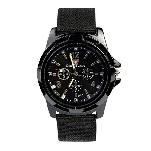 Men's Watch,Pocciol Gemius Army Racing Force Military Sport Mens Fabric Band Watch Black Cool ! (Black)